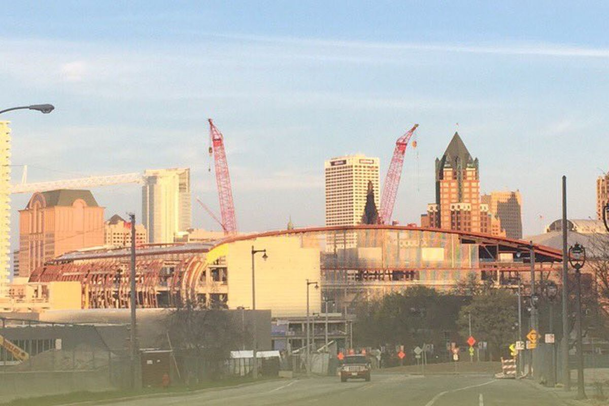View of construction site from Winnebago St.