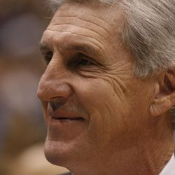 Utah coach Jerry Sloan as the Utah Jazz and the Golden State Warriors play game 1 of the Western Conference semi-finals in the NBA playoffs in Salt Lake City, Utah, May 7, 2007.
