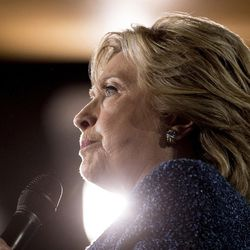 FILE - In this Oct. 28, 2016, Democratic presidential candidate Hillary Clinton pauses while speaking at a rally in Des Moines, Iowa. A little more than a week from Election Day, Hillary Clinton has several ways to reach the 270 electoral votes needed to win the White House, while Donald Trump's path is perilous, at best. In fact, the billionaire Republican needs a dramatic rebound in states where the Democratic nominee appears to have the upper hand.  (AP Photo/Andrew Harnik, File)