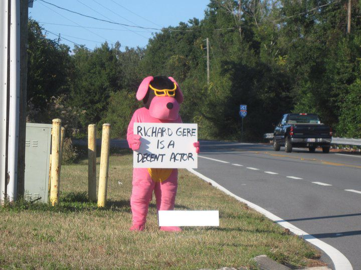 Oh Just a Guy in a Pink Dog Suit Expressing His Feelings on