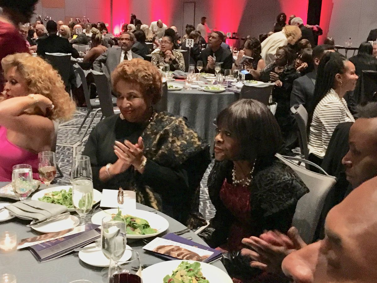In one of her last visits to Chicago, Emmy and Tony Award winning actress Cicely Tyson, here seated next to former U.S. Sen. Carol Moseley Braun, headlined the DuSable Museum of African American History's Annual Night of 100 Stars Gala. It was held Oct. 12, 2018 at the Near South Side Marriott Marquis.