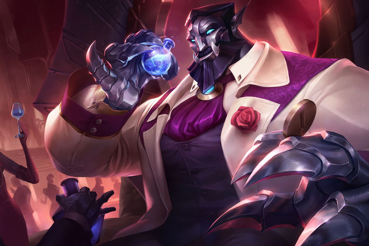 Debonair Galio looks fancy with a blue mana potion at a party.