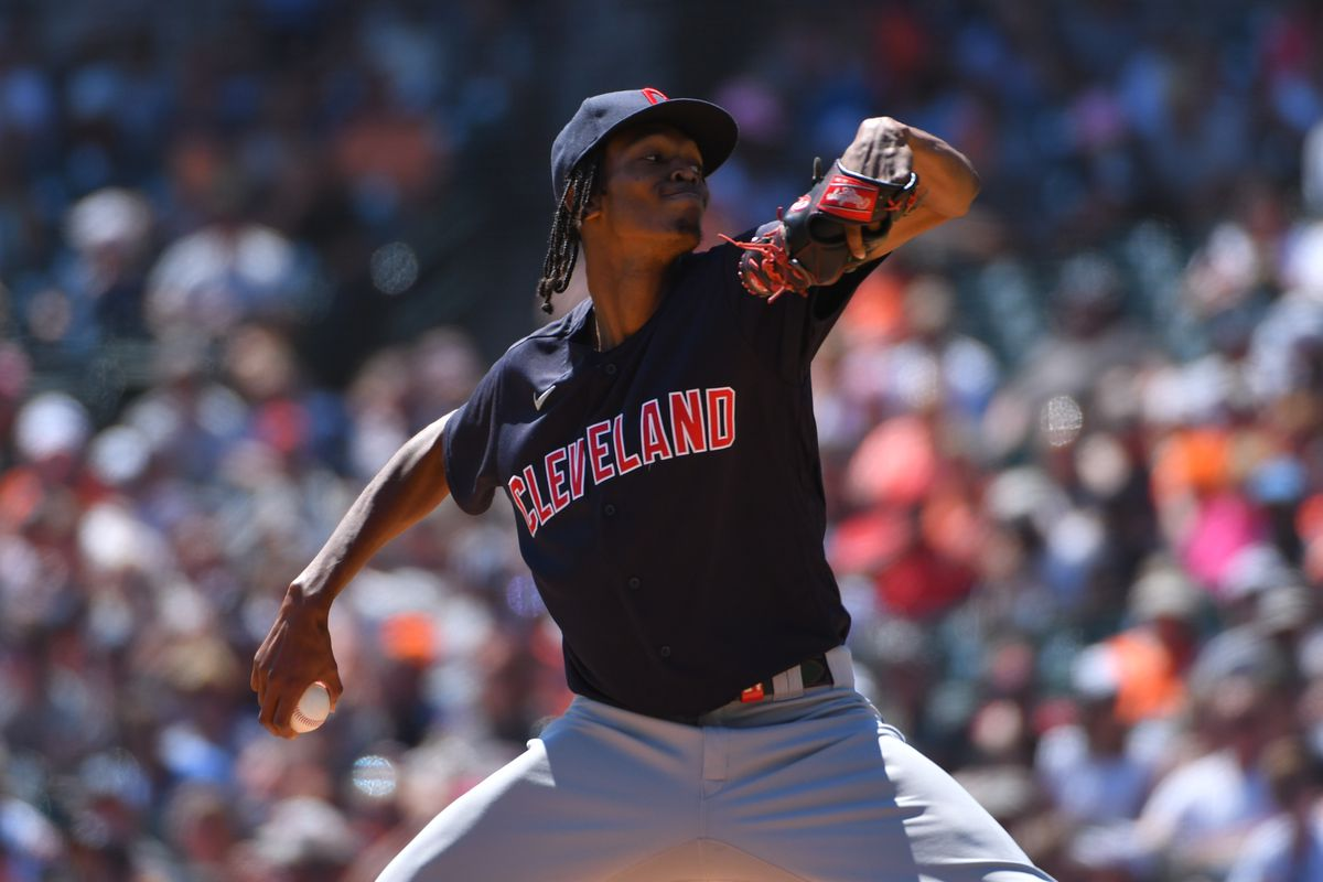 Cleveland Indians Pitcher Triston McKenzie (24) pitches during baseball game between Cleveland Indians at Detroit Tigers on August 15, 2021 at Comerica Park in Detroit, MI