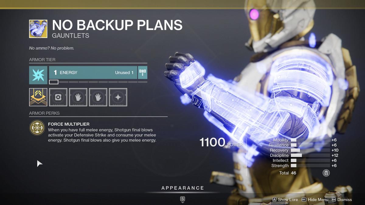 No Backup Plan Titan Exotic arms in Destiny 2