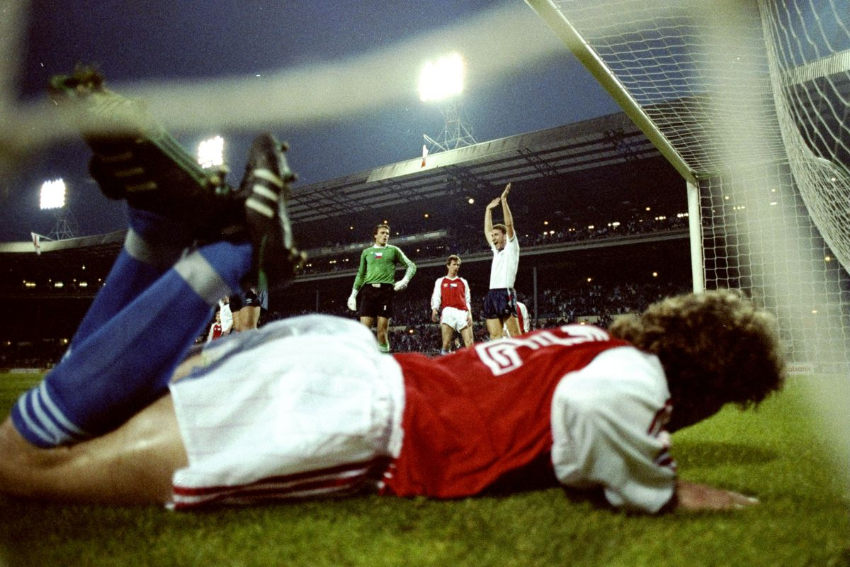 25 Apr 1990: Stuart Pearce of England scores during a Friendly match against Czechoslovakia at Wembley.