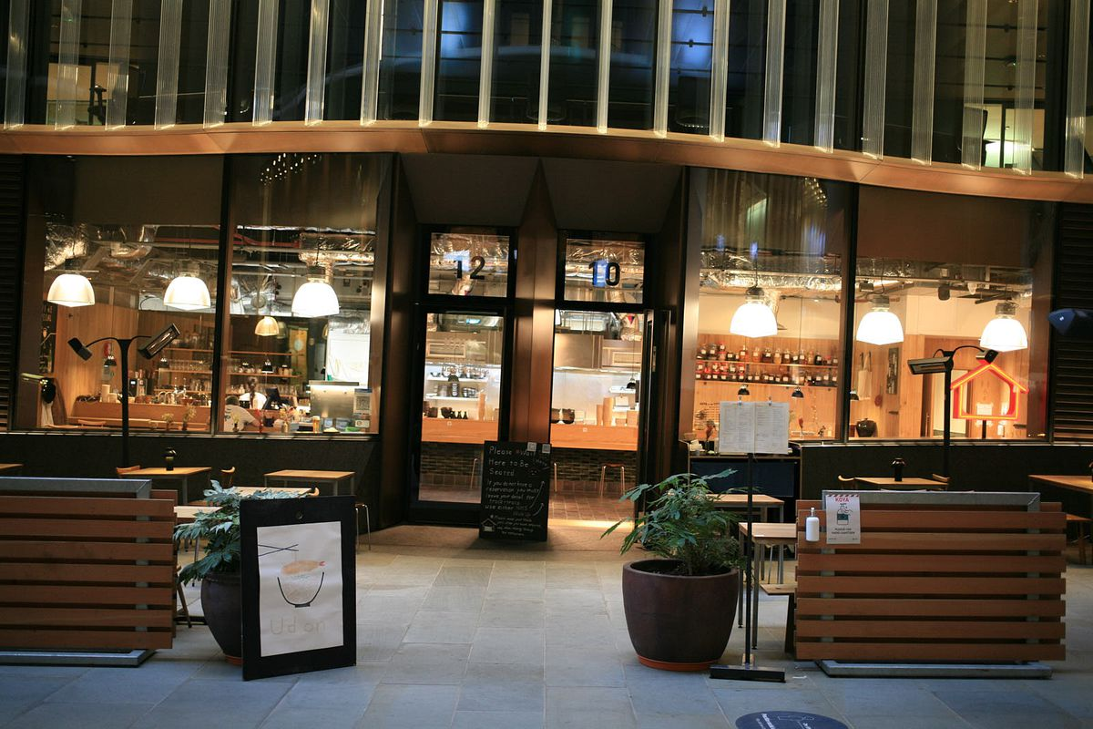 Koya, inside the City's Bloomberg Arcade with a new expanded outside seating area —one of the best Japanese (udon noodle) restaurants
