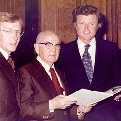 Rep. Wayne Owens and LDS Church President Spencer W. Kimball join Sen. Edward M Kennedy during a visit in 1974.