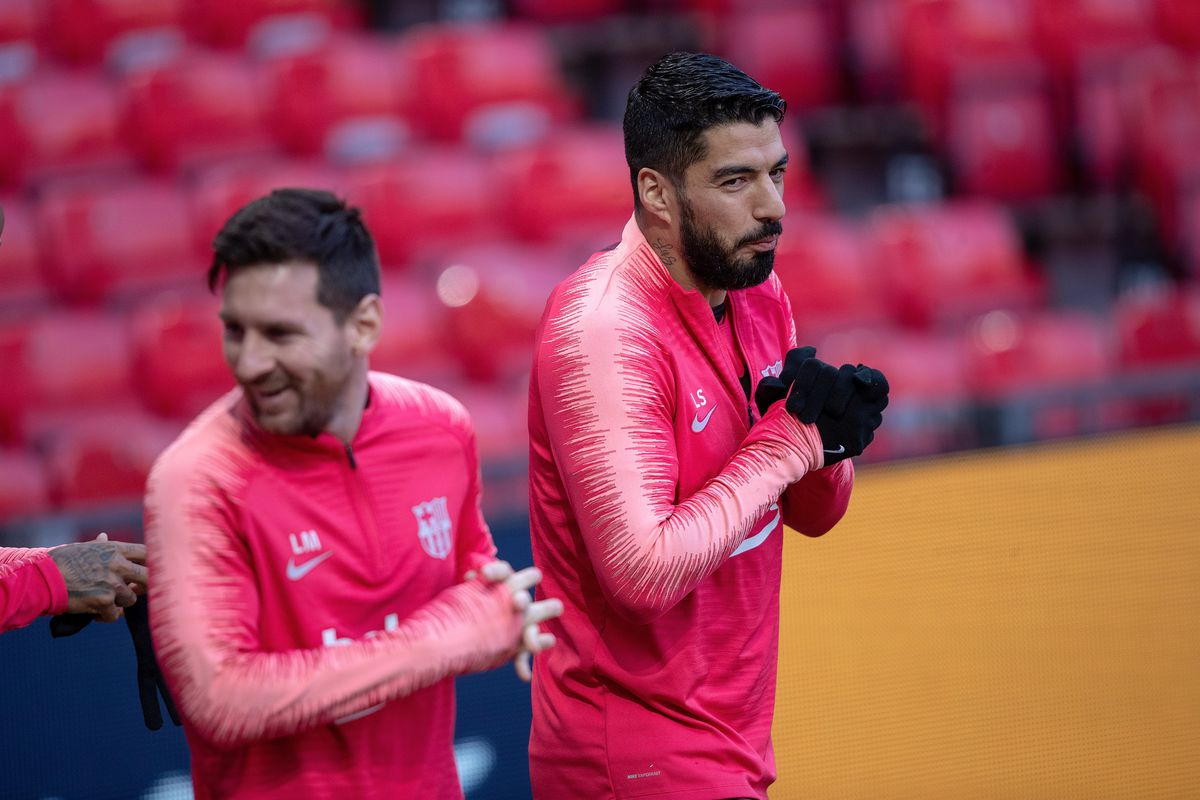Lionel Messi and Luis Suarez still not back in full training for Barcelona