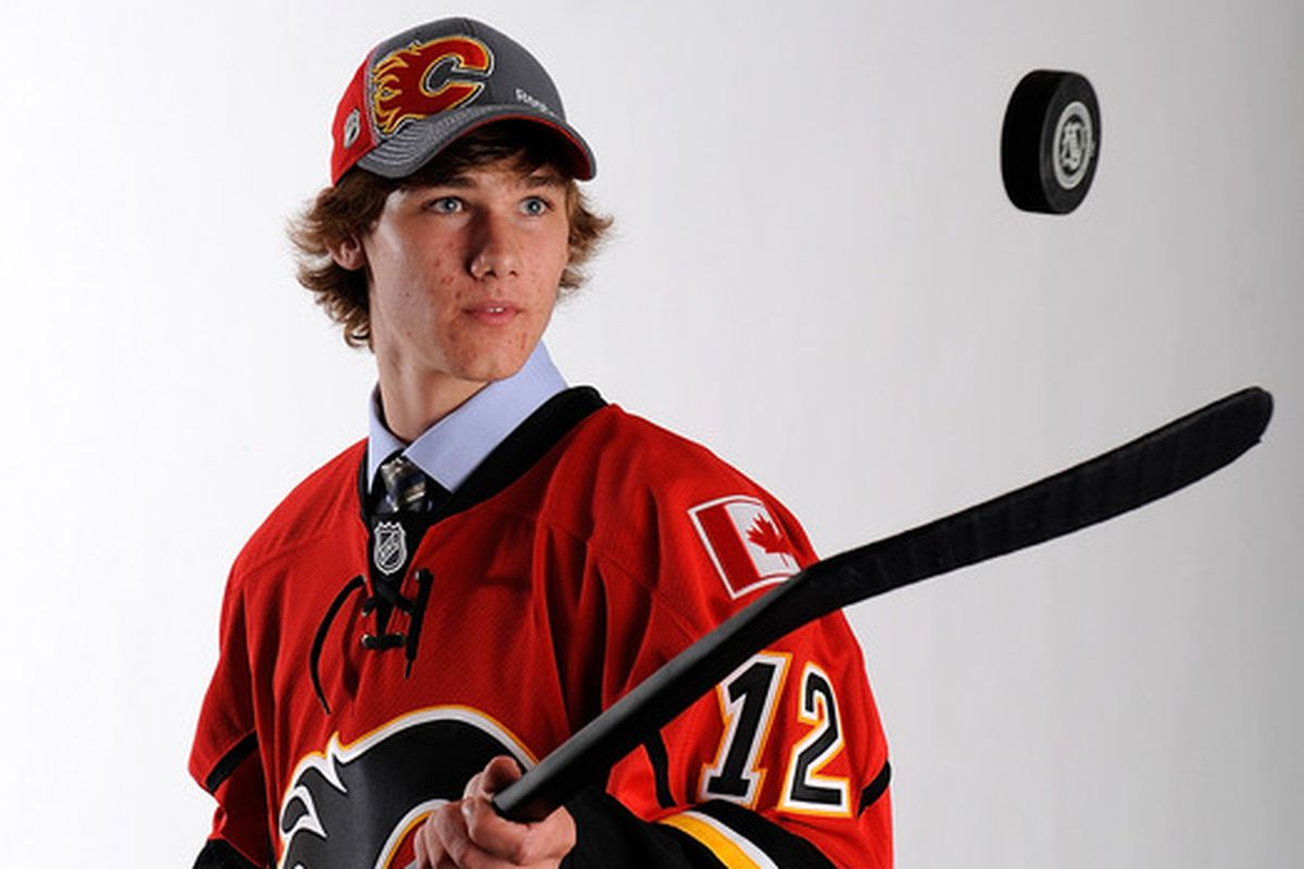 Mark Jankowski, pictured above after he was taken in the first round of the 2012 NHL Draft by the Calgary Flames.