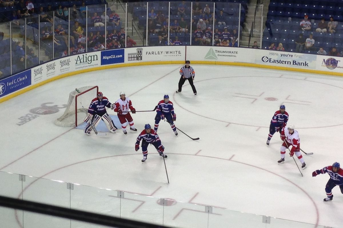 UMass-Lowell sophomore goaltender Connor Hellebuyck prepares to face a McGill shot in the second period of Saturday's exhibition game.