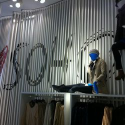 Greeting shoppers at the Broadway and Prince H&M outpost
