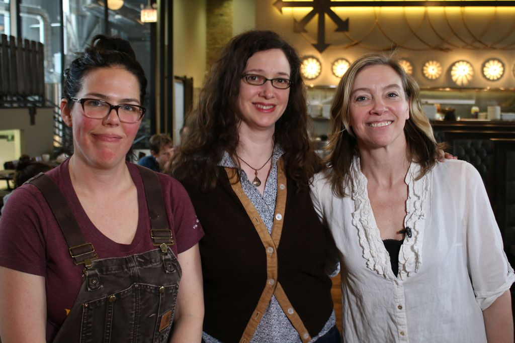 Brewmaster Hayley Shine (left) and co-owners Katy Pizza (middle) and Michelle Foik of Eris Brewery in Old Irving Park. | Brian Rich/For the Sun-Times