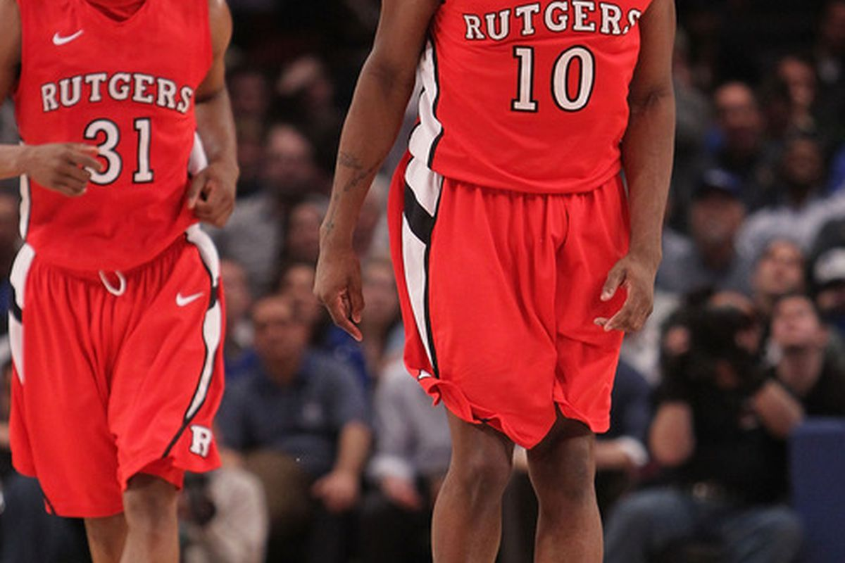 NEW YORK, NY - MARCH 08:  James Beatty #10 of the Rutgers Scarlet Knights celebrates during overtime against the Seton Hall Pirates at Madison Square Garden on March 8, 2011 in New York City.  (Photo by Nick Laham/Getty Images)