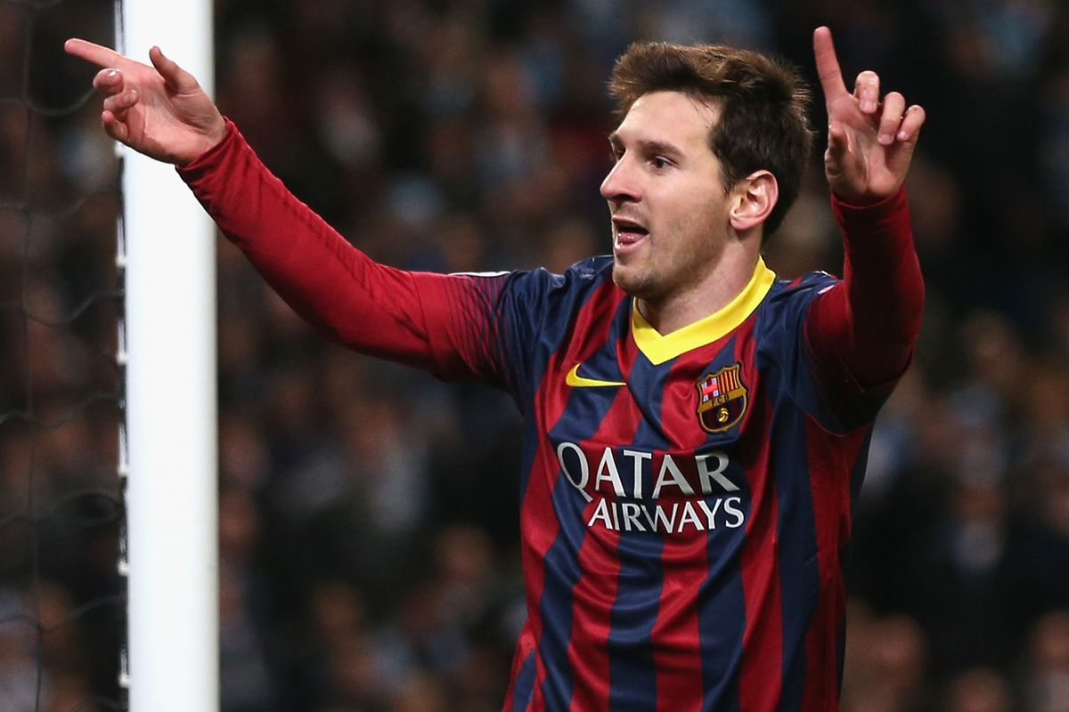 Messi celebrates after beating Hart from the spot.