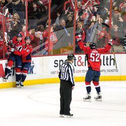 Kuznetsov and Orlov After Kuznetsov's First NHL Goal