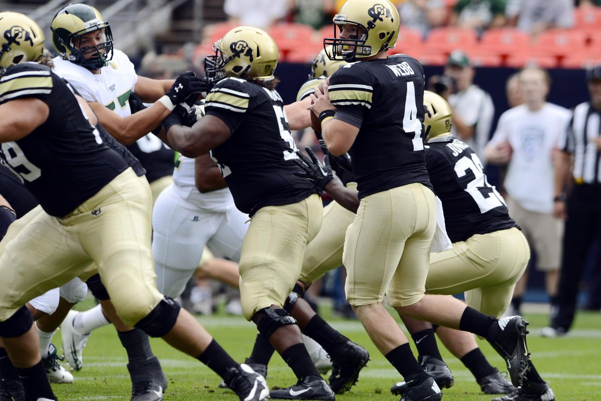 Sept 1, 2012; Denver, CO, USA; Colorado Buffaloes quarterback Jordan Webb (4) looks to pass in the first quarter against the Colorado State Rams at Sports Authority Field. Mandatory Credit: Ron Chenoy-US PRESSWIRE