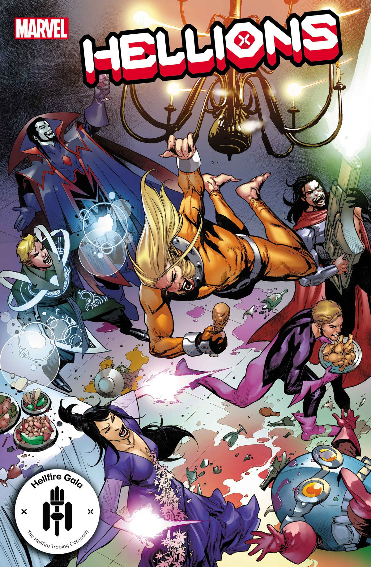 The Hellions make a mess of the Hellfire Gala on the cover of Hellions #12, Marvel Comics (2021)
