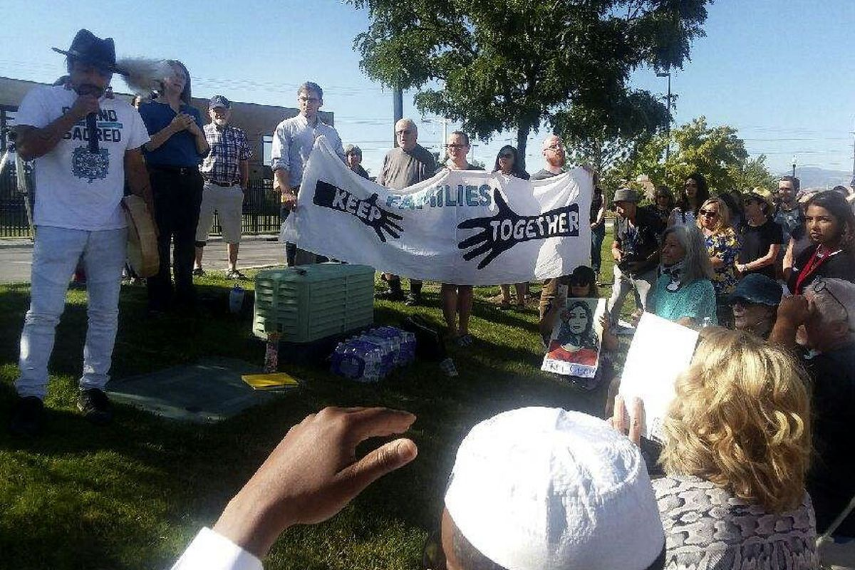 Friends, colleagues and ecclesiastical leaders gather outside U.S. Immigration and Customs Enforcementheadquarters in West Valley City on Friday, August 30, 2019, to protest the deportation order of longtime immigration advocate and community activist Cecilia Figueroa.
