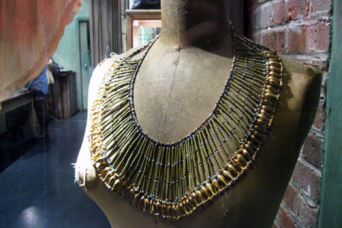 Necklace in the window of Agas & Tamar, Nolita