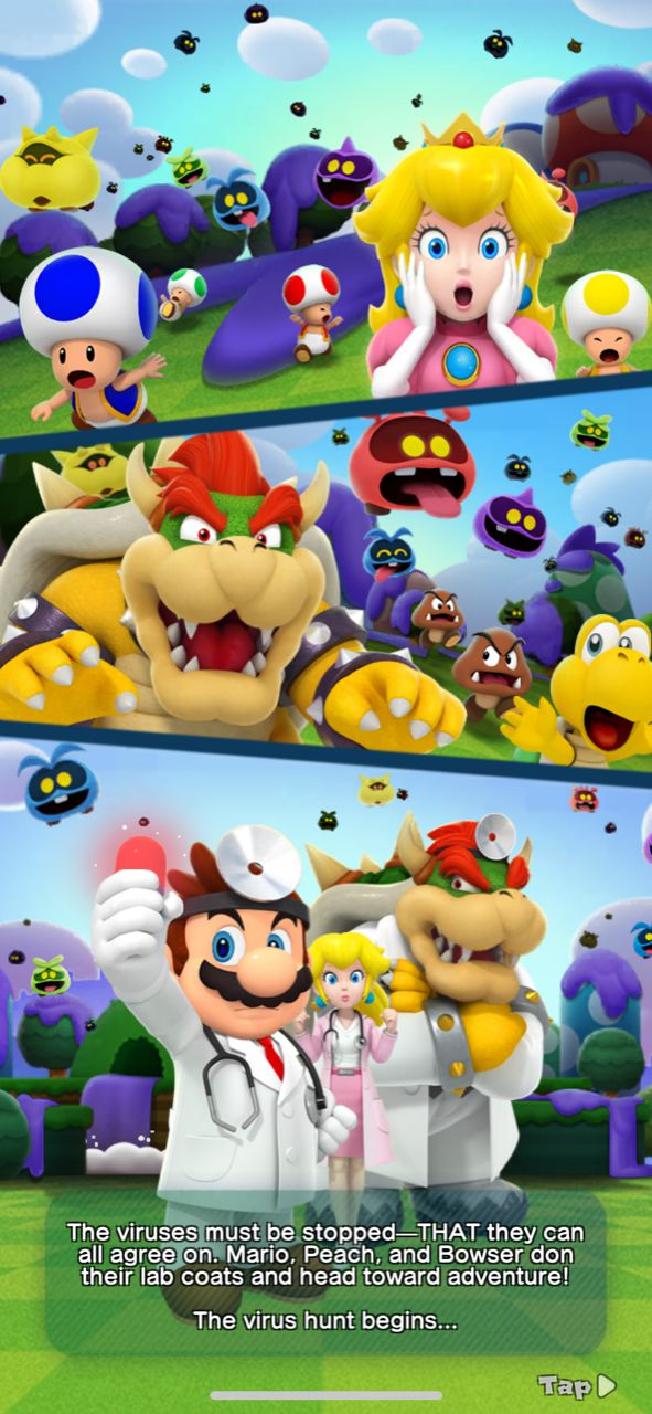 A screenshot of Mario, Peach and Bowser in a story screen from Dr. Mario World