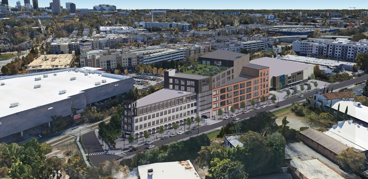 A wide shot of the development shows how the project fits behind Atlantic Station's Target.