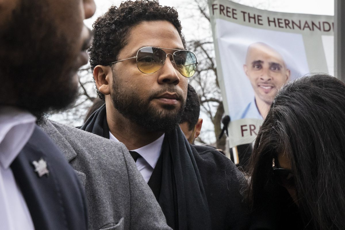 """Former """"Empire"""" actor Jussie Smollett walks into the Leighton Criminal Courthouse for a hearing, Monday morning, Feb. 24, 2020."""