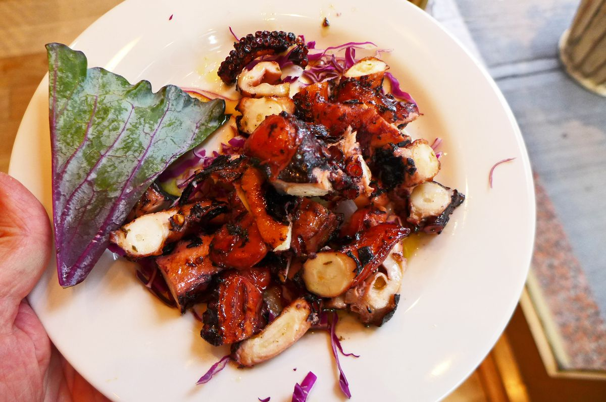 A pile of grilled and slightly charred octopus tentacles, with a red tint from the wine marinade...
