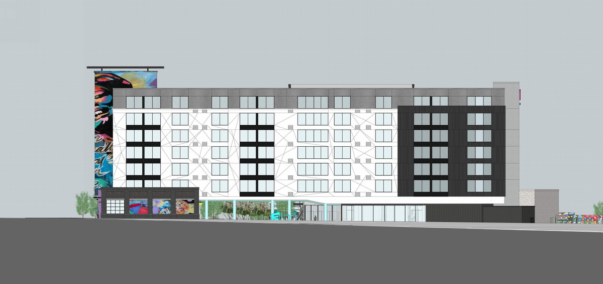 Another elevation shows how the art would clash with the greyscale look of most of the the hotel.