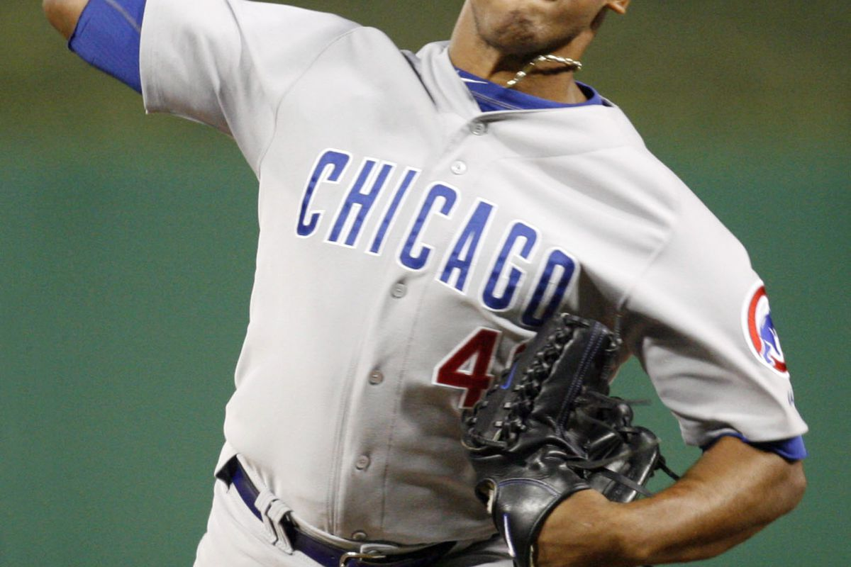 Pittsburgh, PA, USA; Chicago Cubs relief pitcher Carlos Marmol pitches against the Pittsburgh Pirates at PNC Park. Credit: Charles LeClaire-US PRESSWIRE