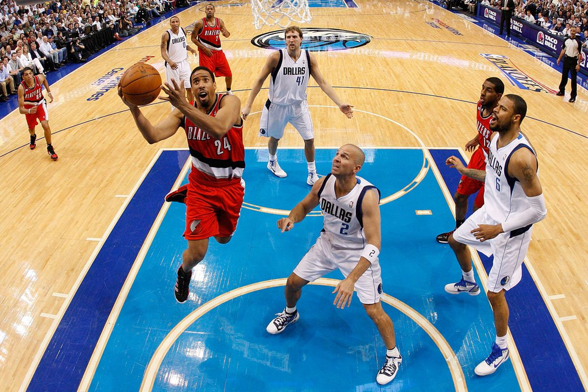 Andre Miller drives to the rim against Jason Kidd in Game 2 of the Western Conference Quarterfinals during the 2011 NBA Playoffs.