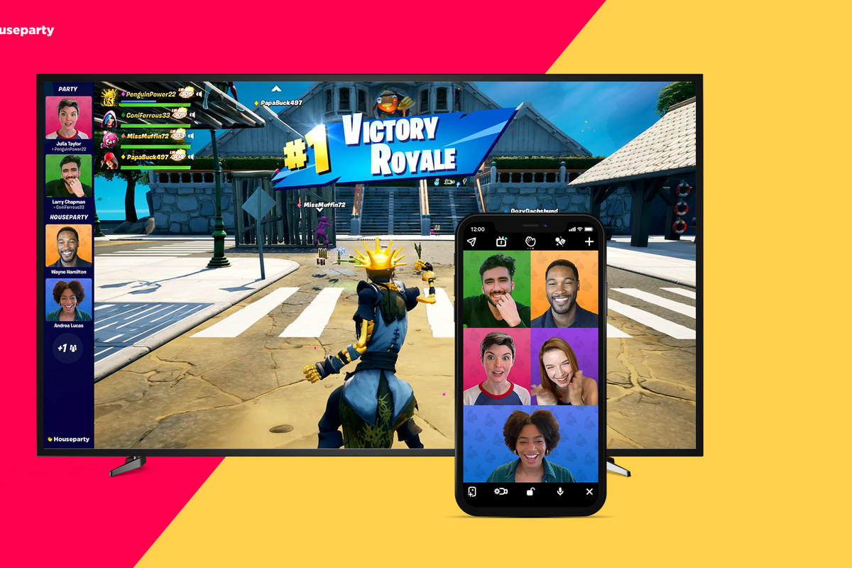 Fortnite players grouped up in the Houseparty app for in-game video chat