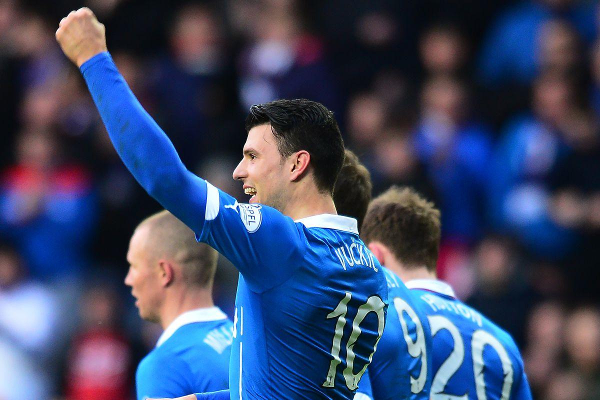 Vučkić celebrates scoring for the Rangers