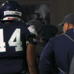 Juan Diego's Xavier Carlton (44) walks on the sideline during the Soaring Eagle's 57-0 win over Judge Memorial at Juan Diego High School in Draper on Thursday, Oct. 17, 2019. Carlton signed a national letter of intent to play for the University of Utah in the Utes' 2020 recruiting class.