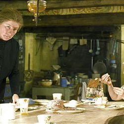 """Nanny McPhee (Emma Thompson), left, and Mrs. Green (Maggie Gyllenhaal) share a spot of tea in the sequel """"Nanny McPhee Returns."""""""
