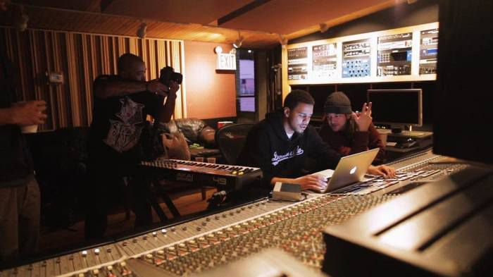 Elite and J. Cole in studio working on 'Born Sinner' in 2013