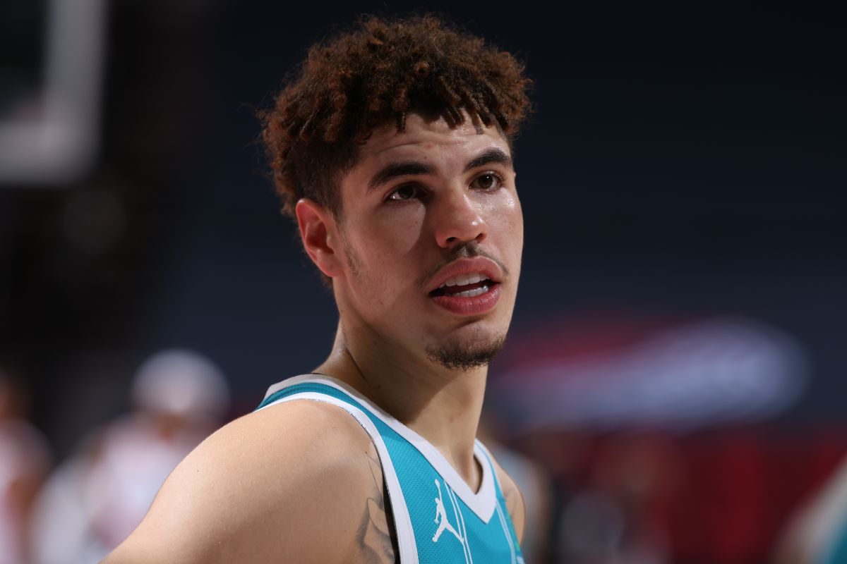 LaMelo Ball of the Charlotte Hornets looks on during the game against the Portland Trail Blazers on March 1, 2021 at the Moda Center Arena in Portland, Oregon.