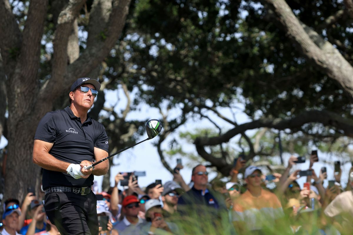 Phil Mickelson of the United States plays his shot from the seventh tee during the third round of the 2021 PGA Championship at Kiawah Island Resort's Ocean Course on May 22, 2021 in Kiawah Island, South Carolina.