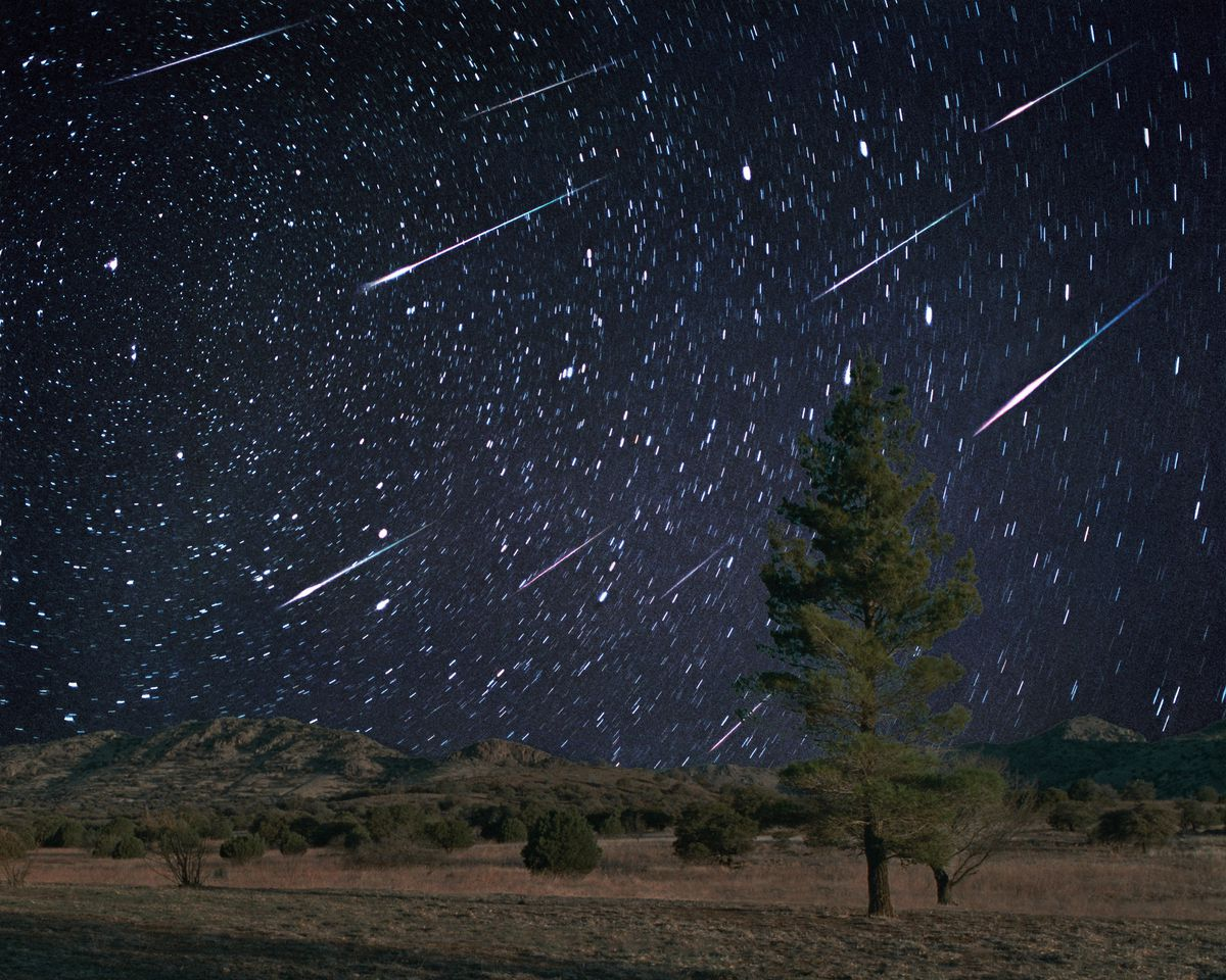 Leonid meteors. Composite image of meteors during the Leonid meteor shower. This annual meteor shower occurs around the 17th November each year. Meteors are streaks of light in the sky caused by the burning up of tiny dust particles in the upper atmosphere as they fall to Earth. This shower is caused by the Earth passing through the stream of debris left in the orbit of the comet Tempel- Tuttle. The comet has a 33-year orbital period, and every 33 years the Leonids peak from their usual rate of around 12 meteors per hour to thousands. This image was taken in 1998, one year before the showers peak in 1999.