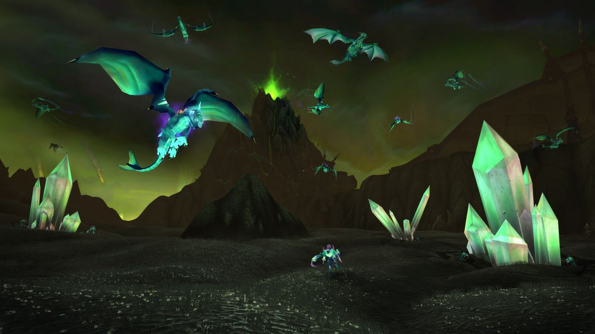 Burning Crusade Classic: A score of Netherdrakes flying in the green sky of Shadowmoon Valley