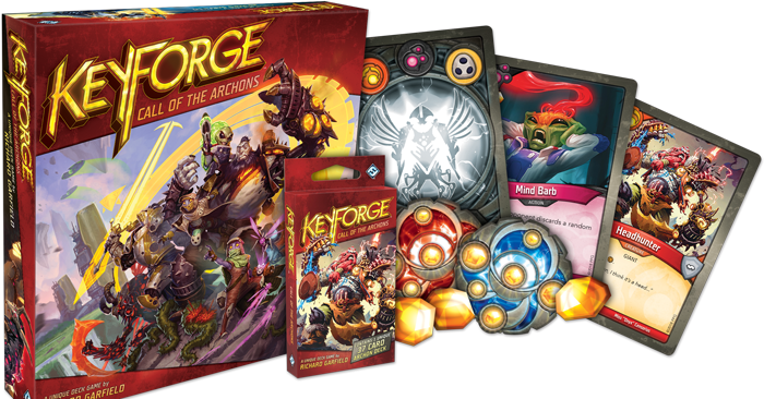 KeyForge is a new, procedurally generated card game - Polygonclockmenumore-arrownoyespoly-lt-wire-logo image