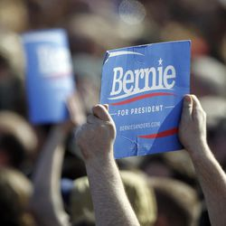 The crowd listens to Democratic presidential candidate and Vermont Sen. Bernie Sanders give a speech to supporters at This is the Place Heritage Park in Salt Lake City, Friday, March 18, 2016.