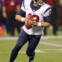 Aug 9, 2013; Minneapolis, MN, USA; Houston Texans quarterback T.J. Yates (13) drops back for a pass in the second quarter against the Minnesota Vikings at the Metrodome.