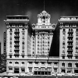 Original architectural design and beauty of the Hotel Utah was maintained in a $3.1 million modernization program recently completed when this photo was taken in June 1967. The hotel was one of the most imposing structures on the Salt Lake skyline.