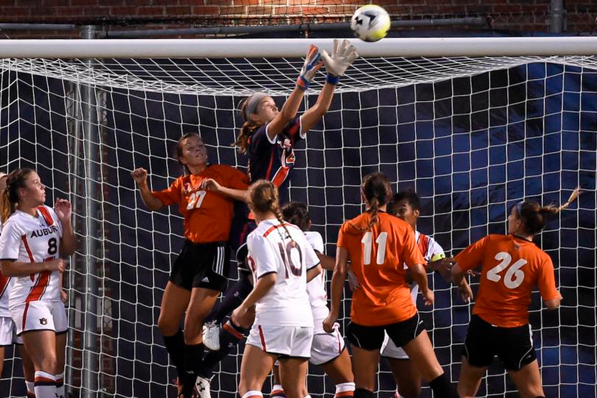 SEC Defensive Player of the Week  and Auburn Keeper Sarah Le Beau makes a save against UC-Irvine