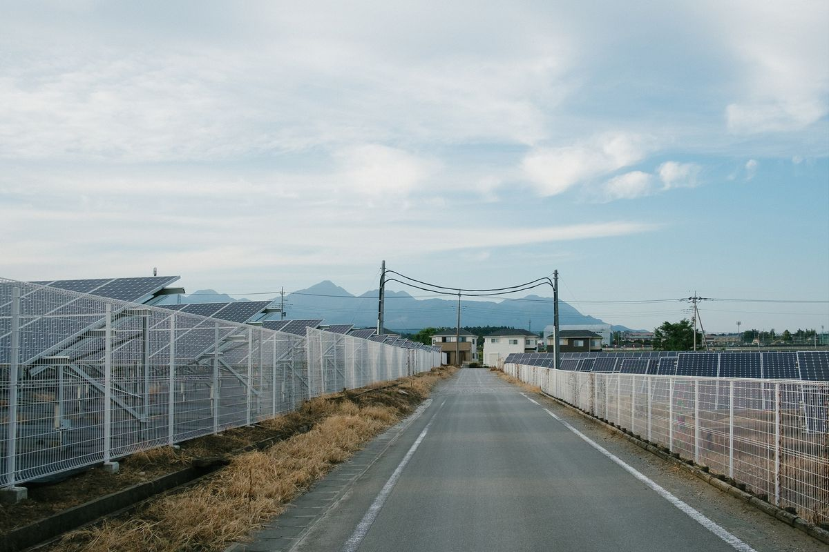 Japanese town with solar panels
