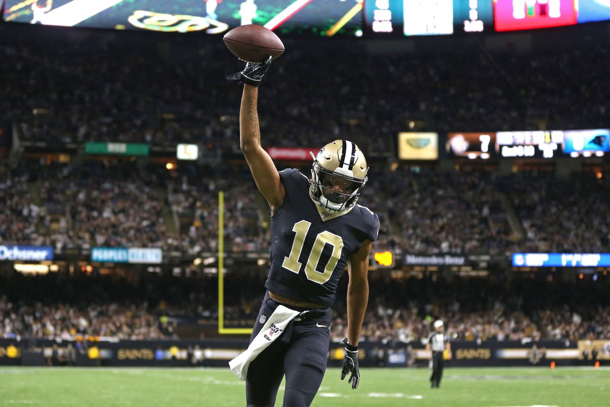 New Orleans Saints wide receiver Tre'Quan Smith's celebrates his touchdown catch in the first quarter against the Carolina Panthers at the Mercedes-Benz Superdome.