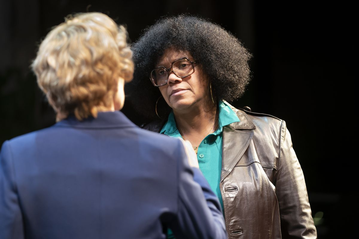 """Marion Stamps (TaRon Patton, right) confronts Mayor Jane Byrne ( Christine Mary Dunford) in a scene from """"Her Honor Jane Byrne"""" at Lookingglass Theatre."""