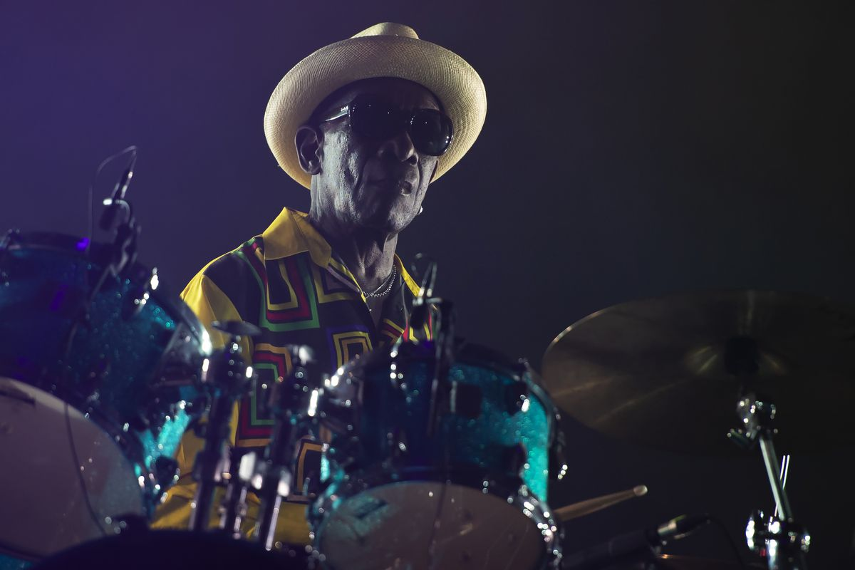 Drummer Tony Allen performs live in 2018 at the Officine Grandi Riparazioni in Turin, Italy.