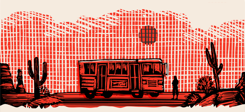 Illustration of a bus in the desert, under the sun.