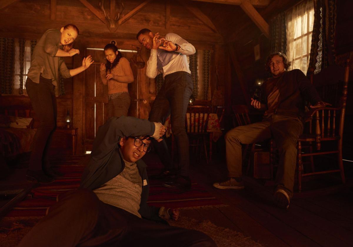 Deborah Ann Woll, Taylor Russell, Jay Ellis, Logan Miller, and Nick Dodani in Escape Room.